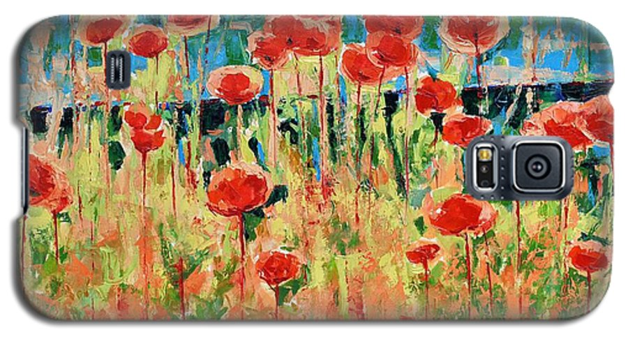 Poppies Galaxy S5 Case featuring the painting Poppies And Traverses 2 by Iliyan Bozhanov