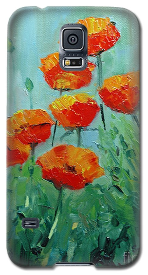 Floral Galaxy S5 Case featuring the painting Poppies For Sally by Glenn Secrest