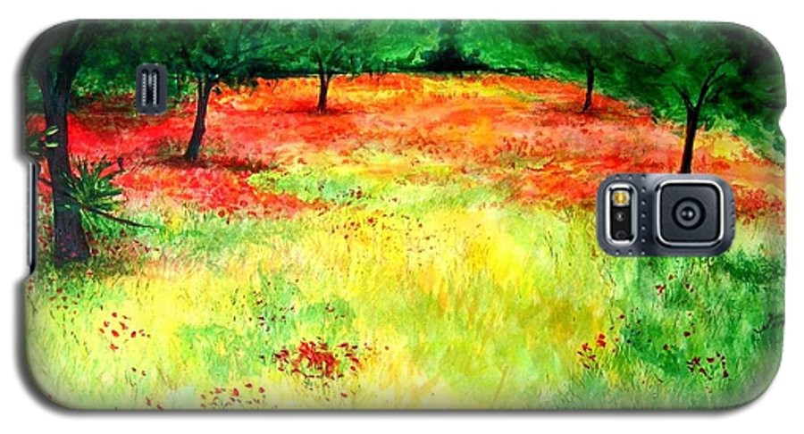 Landscape Galaxy S5 Case featuring the painting Poppies In The Almond Grove by Lizzy Forrester