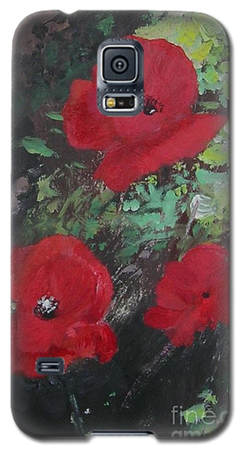 Red Galaxy S5 Case featuring the painting Poppies by Lizzy Forrester