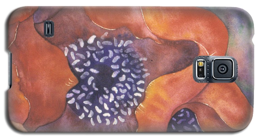 Flowers Galaxy S5 Case featuring the painting Poppies On Blue by Christina Rahm Galanis