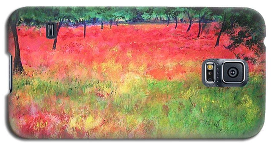 Original Landscape Painting. Poppy Field Galaxy S5 Case featuring the painting Poppy Field II by Lizzy Forrester