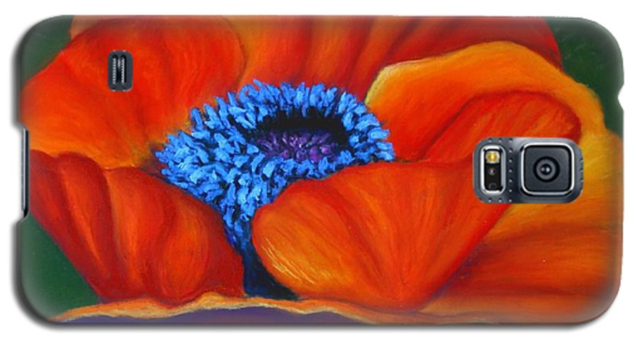 Red Flower Galaxy S5 Case featuring the painting Poppy Pleasure by Minaz Jantz