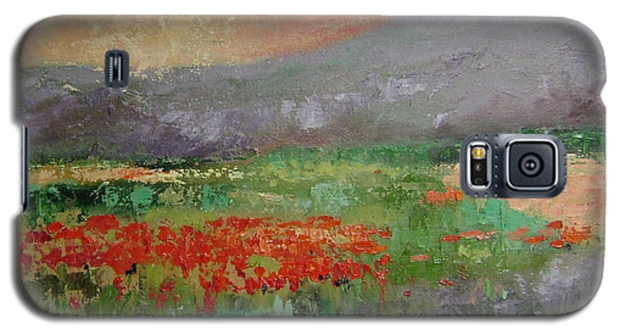Poppies Galaxy S5 Case featuring the painting Poppyfield by Ginger Concepcion