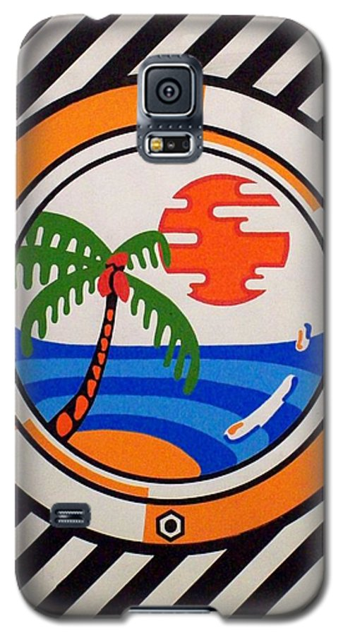 Palm Tree Galaxy S5 Case featuring the painting Porthole Paradise by Alan Hogan