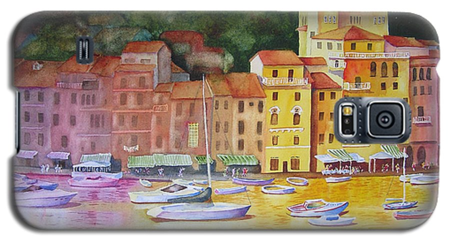 Italy Galaxy S5 Case featuring the painting Portofino Afternoon by Karen Stark