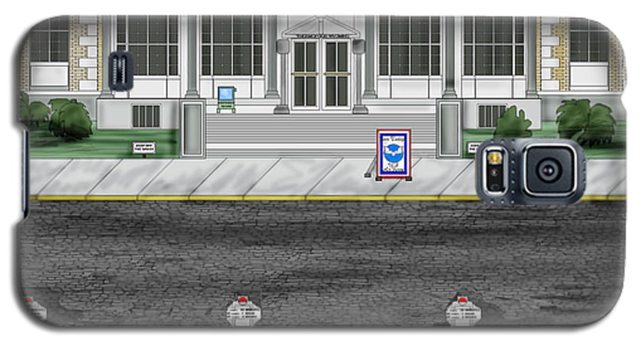Townscape Galaxy S5 Case featuring the painting Post Office In Thermopolis by Anne Norskog