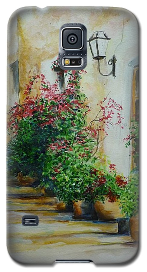 Earthenware Pots Galaxy S5 Case featuring the painting Pots And Plants by Lizzy Forrester
