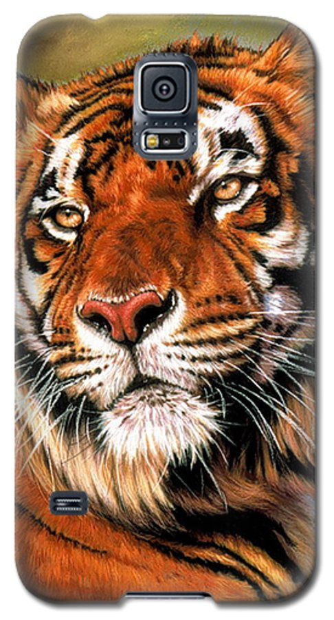 Tiger Galaxy S5 Case featuring the pastel Power And Grace by Barbara Keith