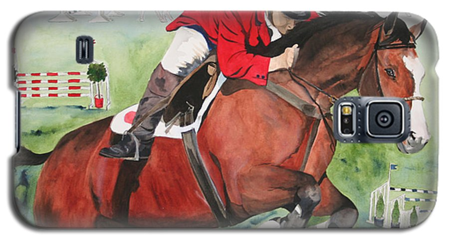 Horse Galaxy S5 Case featuring the painting Practice Makes Perfect by Jean Blackmer