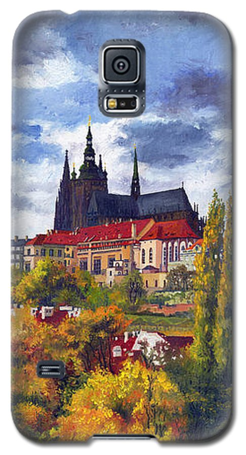 Prague Galaxy S5 Case featuring the painting Prague Castle With The Vltava River by Yuriy Shevchuk