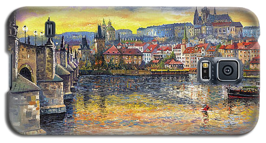 Oil On Canvas Galaxy S5 Case featuring the painting Prague Charles Bridge And Prague Castle With The Vltava River 1 by Yuriy Shevchuk