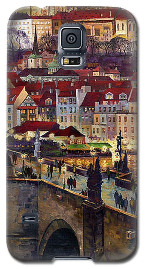 Prague Galaxy S5 Case featuring the painting Prague Charles Bridge With The Prague Castle by Yuriy Shevchuk