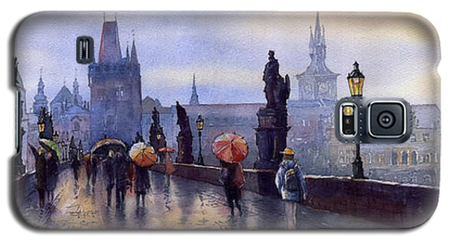 Cityscape Galaxy S5 Case featuring the painting Prague Charles Bridge by Yuriy Shevchuk
