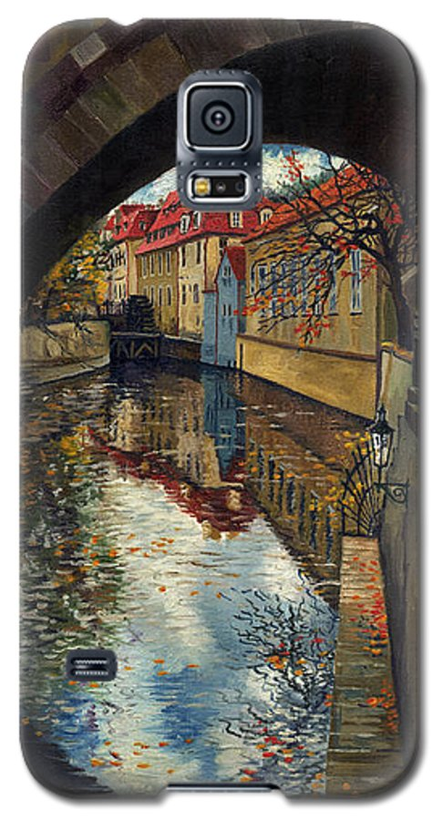 Oil Galaxy S5 Case featuring the painting Prague Chertovka 3 by Yuriy Shevchuk