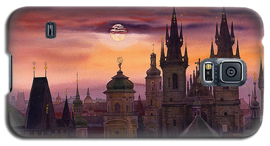 Cityscape Galaxy S5 Case featuring the painting Prague City Of Hundres Spiers by Yuriy Shevchuk
