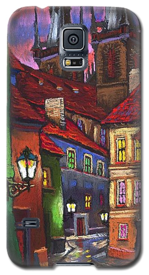 Pastel Galaxy S5 Case featuring the painting Prague Old Street 01 by Yuriy Shevchuk
