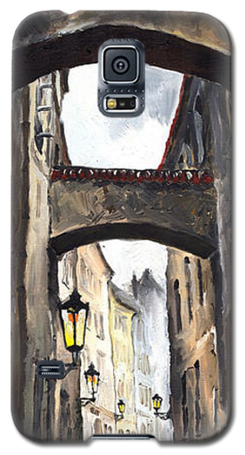 Oil On Canvas Paintings Galaxy S5 Case featuring the painting Prague Old Street 02 by Yuriy Shevchuk