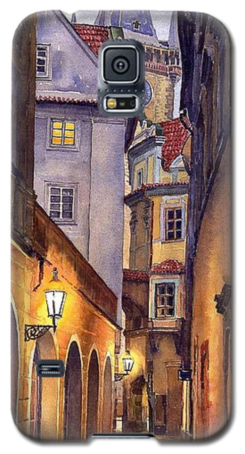 Cityscape Galaxy S5 Case featuring the painting Prague Old Street by Yuriy Shevchuk