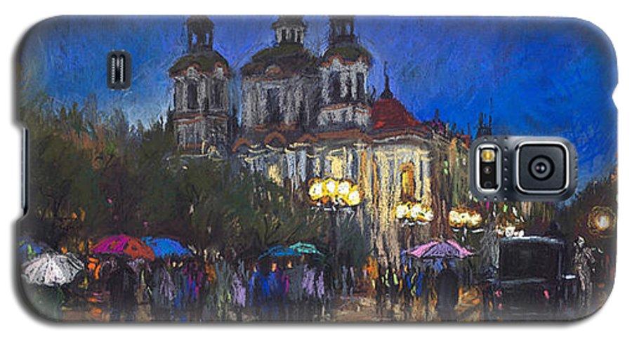 Prague Galaxy S5 Case featuring the pastel Prague Old Town Square St Nikolas Ch by Yuriy Shevchuk