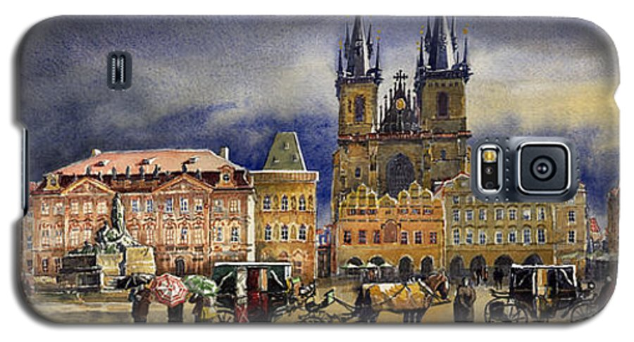 Watercolor Galaxy S5 Case featuring the painting Prague Old Town Squere After Rain by Yuriy Shevchuk