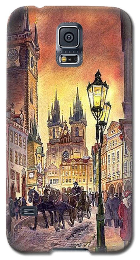 Cityscape Galaxy S5 Case featuring the painting Prague Old Town Squere by Yuriy Shevchuk