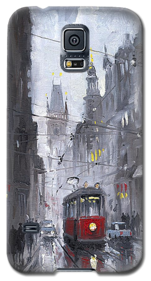 Oil On Canvas Galaxy S5 Case featuring the painting Prague Old Tram 03 by Yuriy Shevchuk