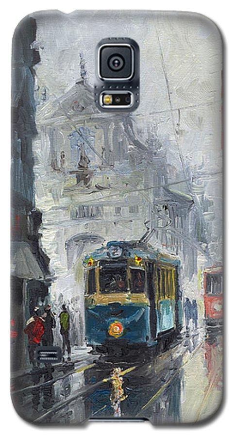 Oil On Canvas Galaxy S5 Case featuring the painting Prague Old Tram 04 by Yuriy Shevchuk