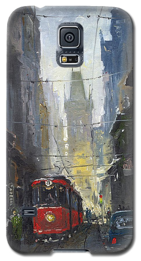 Oil On Canvas Paintings Galaxy S5 Case featuring the painting Prague Old Tram 05 by Yuriy Shevchuk