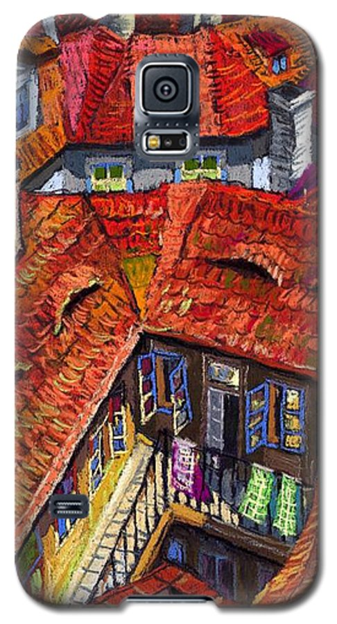 Pastel Galaxy S5 Case featuring the painting Prague Roofs 01 by Yuriy Shevchuk