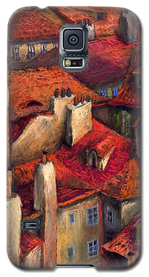 Prague Galaxy S5 Case featuring the painting Prague Roofs by Yuriy Shevchuk