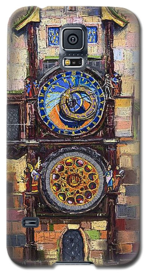 Cityscape Galaxy S5 Case featuring the painting Prague The Horologue At Oldtownhall by Yuriy Shevchuk