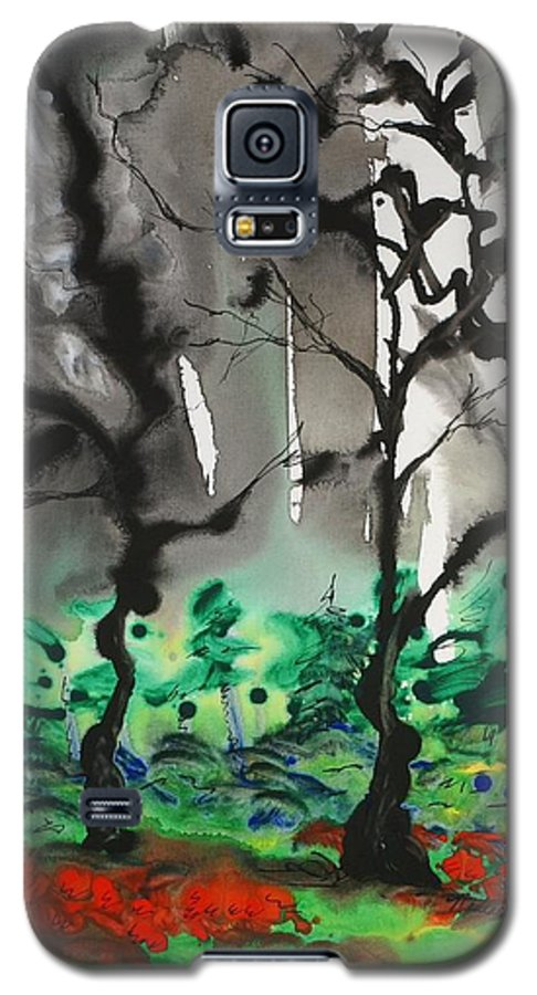 Forest Galaxy S5 Case featuring the painting Primary Forest by Nadine Rippelmeyer