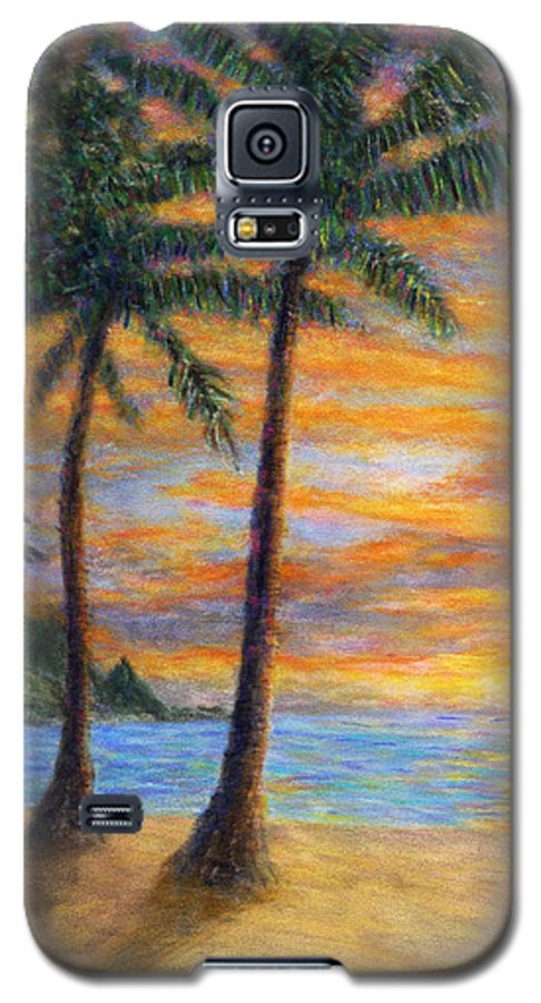 Coastal Decor Galaxy S5 Case featuring the painting Princeville Beach Palms by Kenneth Grzesik