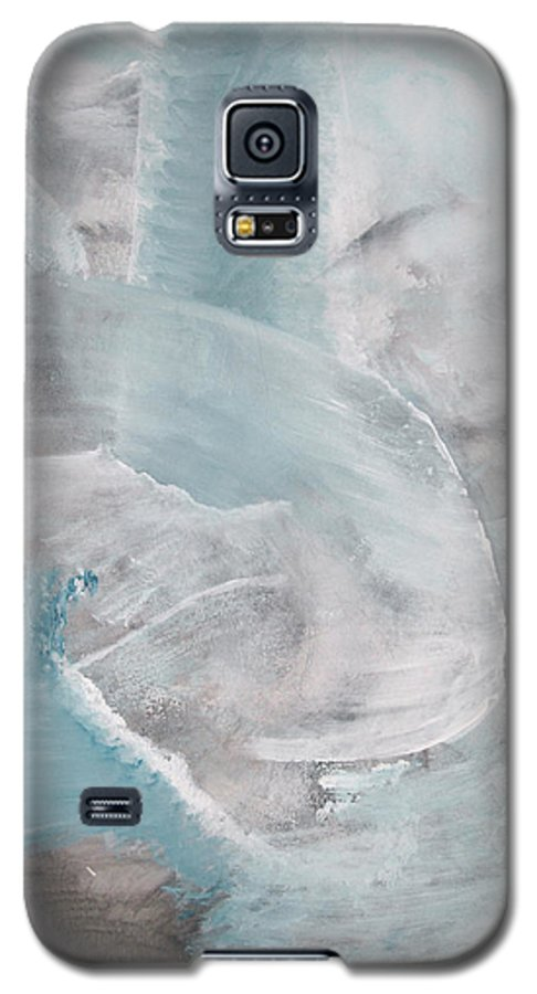 Abstract Acrylic Darkestartist Landscape Painting Waterfall Blue Water Galaxy S5 Case featuring the painting Private Waterfall by Darkest Artist