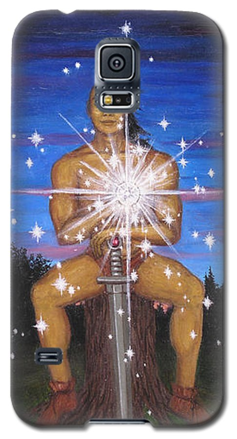 Fantasy Galaxy S5 Case featuring the painting Protector Of The Mystical Forest by Roz Eve