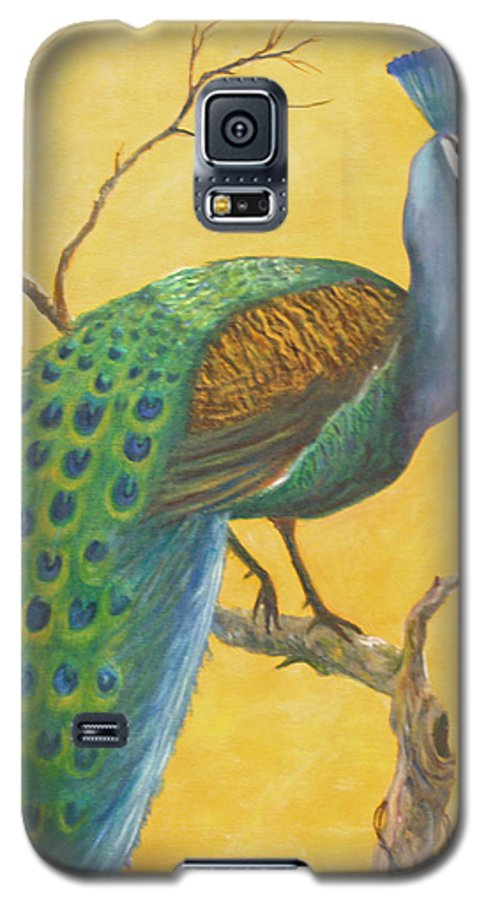 Peacock; Birds; Fall Leaves Galaxy S5 Case featuring the painting Proud As A Peacock by Ben Kiger