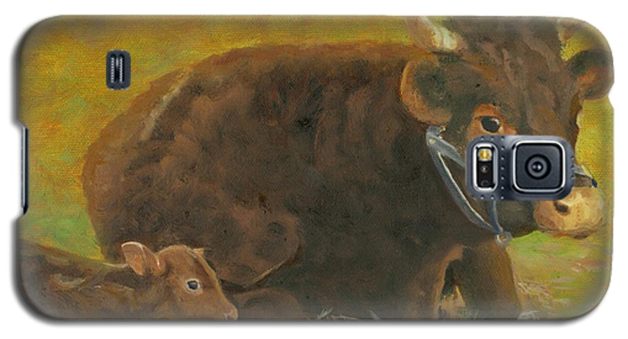 Cow Calf Bull Farmscene Galaxy S5 Case featuring the painting Proud Pappa by Paula Emery