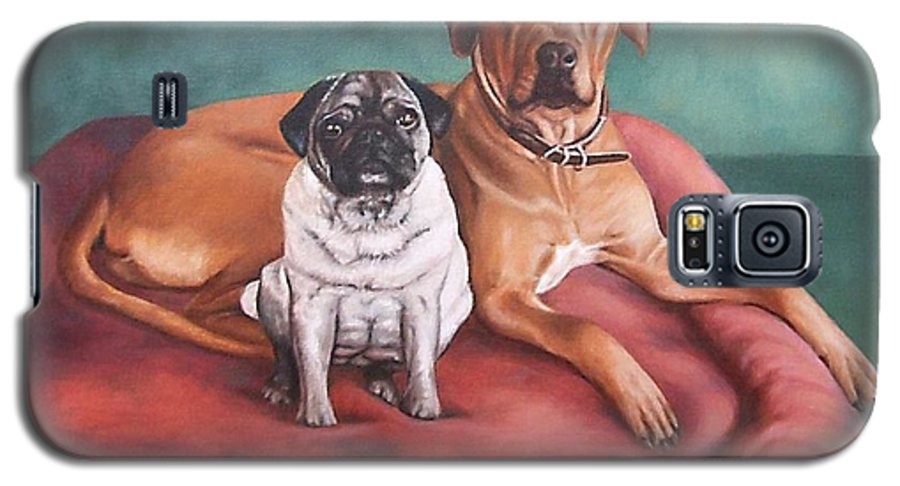 Dogs Galaxy S5 Case featuring the painting Pug And Rhodesian Ridgeback by Nicole Zeug