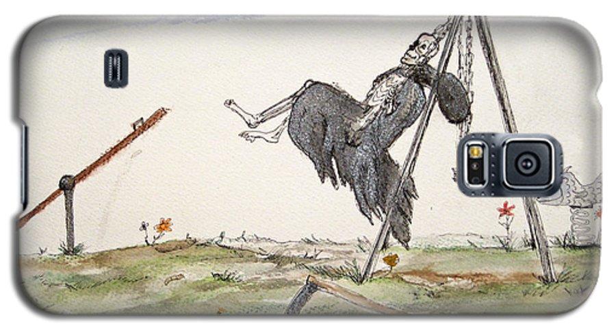 Darkestartist Death Humor Ink Playground Swing Watercolor Watercolour Darkest Artist Pump Harder Seesaw Galaxy S5 Case featuring the painting Pump Harder Youll Get There by Darkest Artist