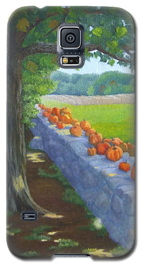 Pumpkins Galaxy S5 Case featuring the painting Pumpkin Muster by Sharon E Allen