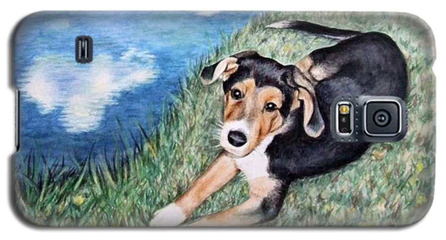Dog Galaxy S5 Case featuring the painting Puppy Max by Nicole Zeug