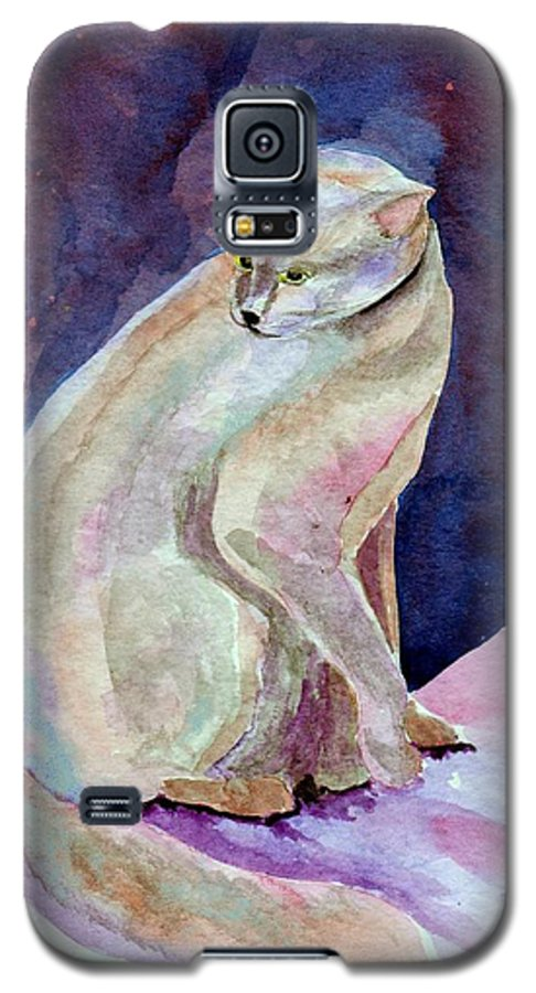 Cat Galaxy S5 Case featuring the painting Purple Cat by Susan Kubes