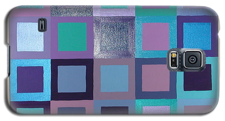 Squares Galaxy S5 Case featuring the painting Purple Haze by Gay Dallek