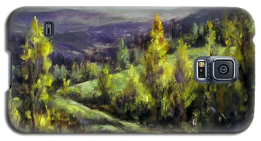 Landscape Mountains Galaxy S5 Case featuring the painting Purple Haze by Ruth Stromswold