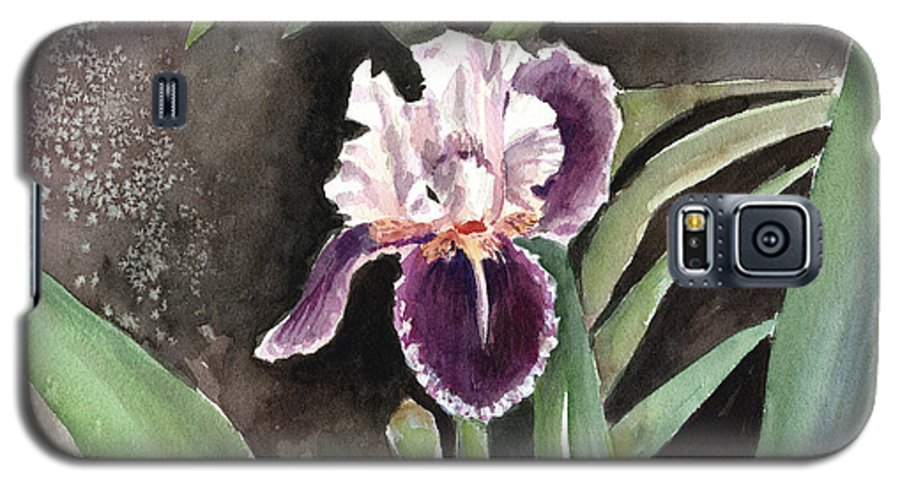 Flower Galaxy S5 Case featuring the painting Purple Iris by Arline Wagner