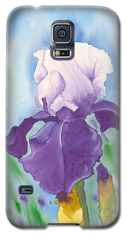 Iris Galaxy S5 Case featuring the painting Purple by Louise Magno