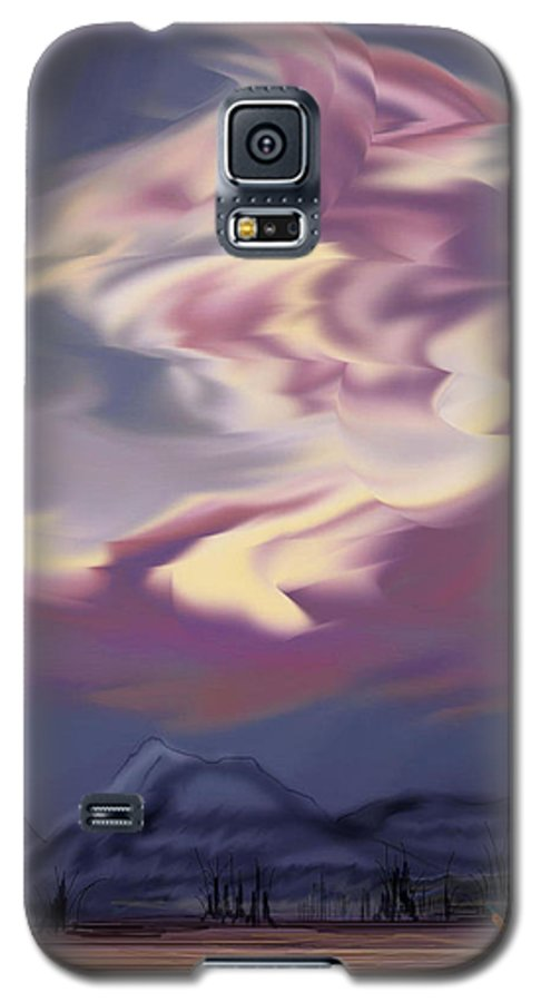 Clouds Galaxy S5 Case featuring the painting Purple Mountain Majesty by Anne Norskog
