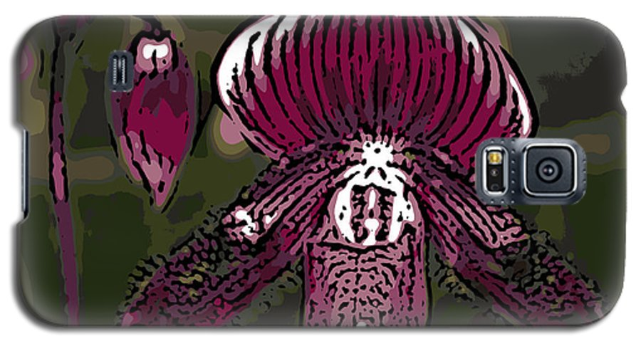 Orchid Galaxy S5 Case featuring the photograph Purple Orchid Woodcut by Ann Tracy