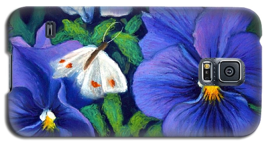 Pansy Galaxy S5 Case featuring the painting Purple Pansies And White Moth by Minaz Jantz